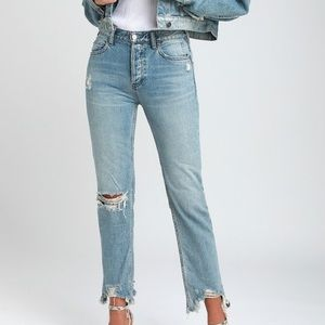 Free People Chewed Up Straight Leg Jeans